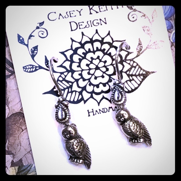 Casey Keith Design Jewelry - Silver Owl Earrings